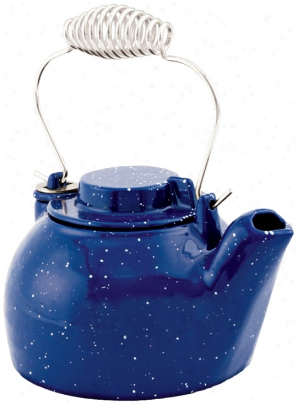 2 1/2 Quart Blue Enameled Cast Irno Humodifier Kettle (u9303)