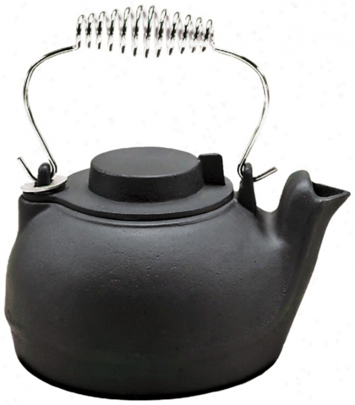 2 1/2 Quart Painted Black Cast Iron Kettle (u9297)