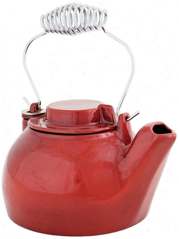 2 1/2 Quart Red Enameled Cast Iron Humidifier Kettle (u9299)