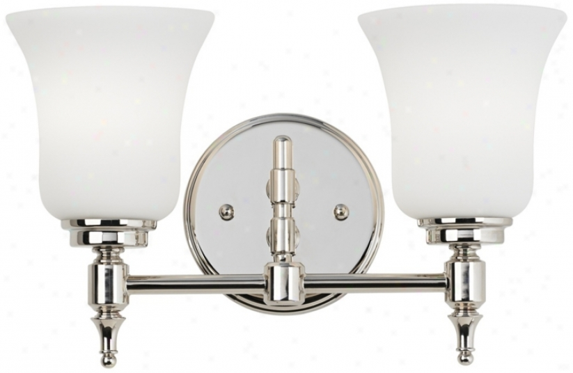 "2-light Eyched Glass 13 3/4"" Wide Nickel Bathroom Fixture (u1752)"