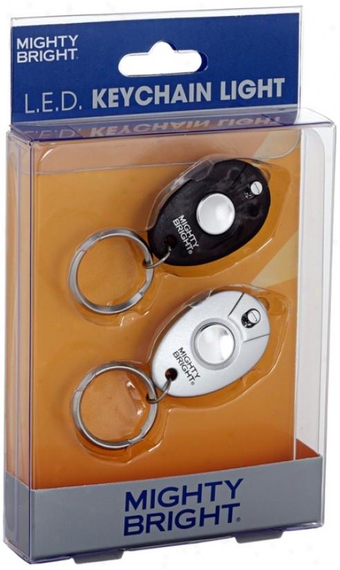 2 Bundle Black And Silver Led Key Chain Light (u3881)