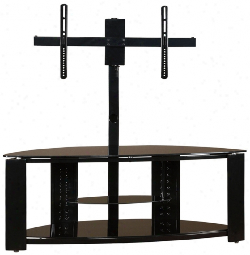 2-whelf Corner Flat Panel Tv Stand With Post And Bracket (n5381)