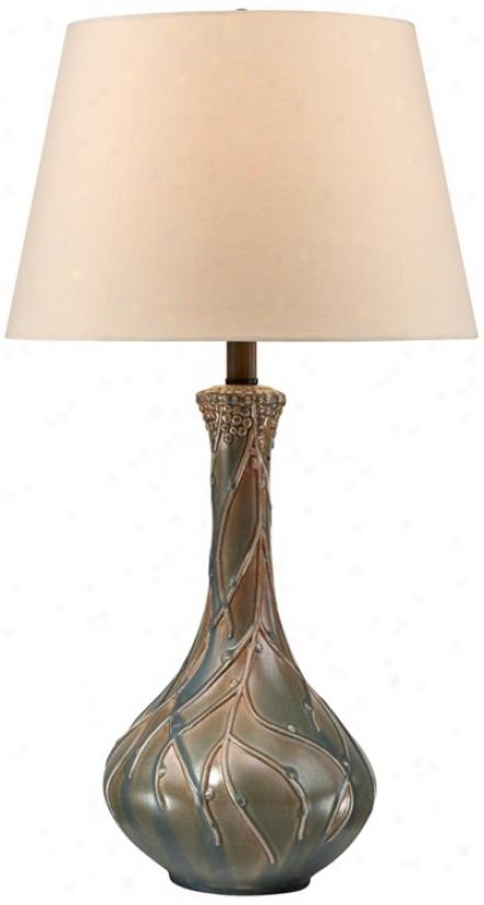 "28""b Matte Green Teardrop Cerramic Table Lamp (v3063)"