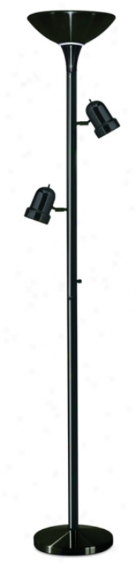 3-in-1 Black Trde Torchiere Floor Lamp (77066)