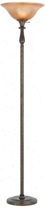 3-way Rust Finish Torchiere With Glass Shade (p9591)