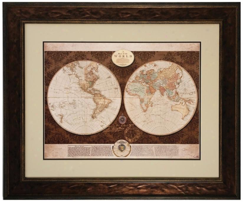 """36"""" Wide Framed World Map Wall Art (v6954)"""