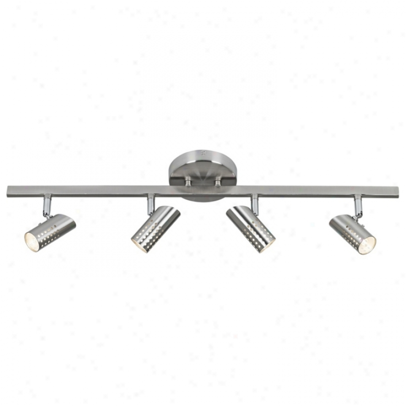 4-light Perforated Head Bruahed Steel Track Fixture (t7394)