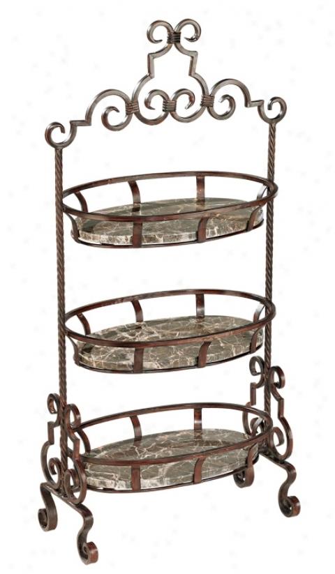 "41"" High Three Tier Iron Scroll Detail Basket (71514)"