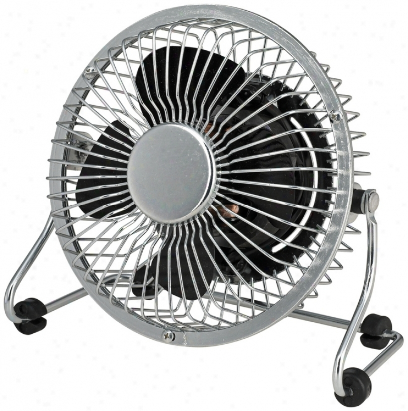 4&quot; Desk Fan In Chrome  Mini Grill With Black Blade (r2814)