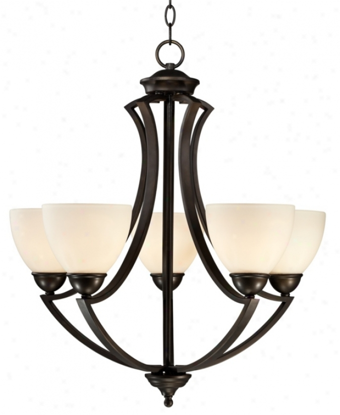 "5-light Curves 24"" Wide Frosted Glass And Bronze Chandelier (v0306)"
