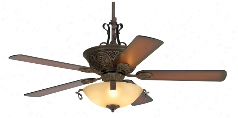 "52"" Casa Contessa Large boiler Bronze Ceiling Fan With Light (55878-56255-01073-01445)"