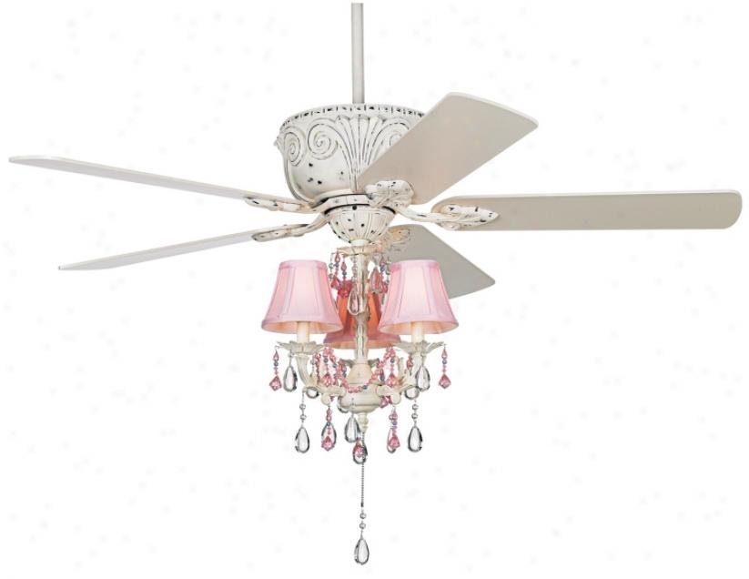 """52"""" Casa Deville Pretty In Pink Pull Chain Ceiling Fan (87544-45518-53567)"""