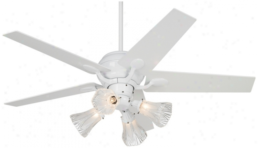 "52"" Casa Optima White Tapered Blades Ceiling Fan With Light (86645-32431-m3630-20998)"