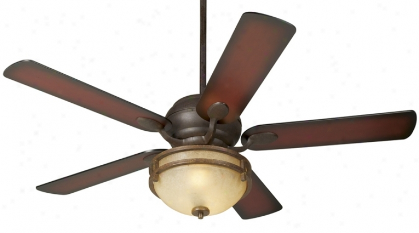 "52"" Casa Vieja® Black Rust Syaded Blades Ceiling Fan (86814-56255-79200)"