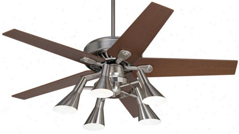 """52"""" Windstar Ii Brushed Steel With Walnut Ceiling Fan (34053-32435-r1737)"""