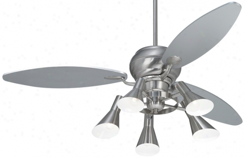 "60"" Spyder™ Brushed Steel Ceiling Fan With 5-light Kit (r2181-r2447-r1737)"