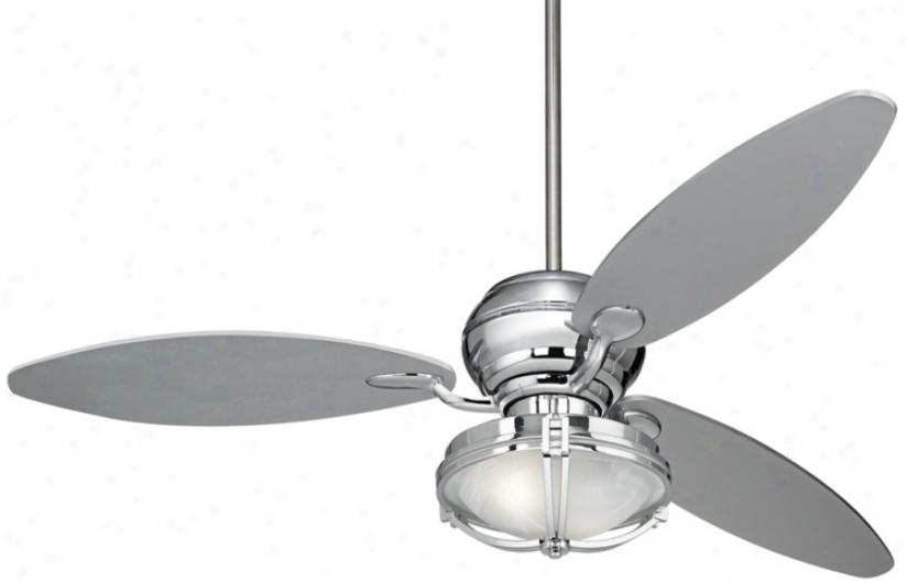 "66"" Spyder Chrome Ceiling Fan And White Glass Light Violin (r2180-r2484-r4788)"