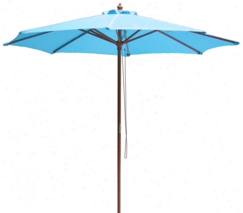 9' High Mountain Blue Market Umbrella With Wooden Pole (t4725)