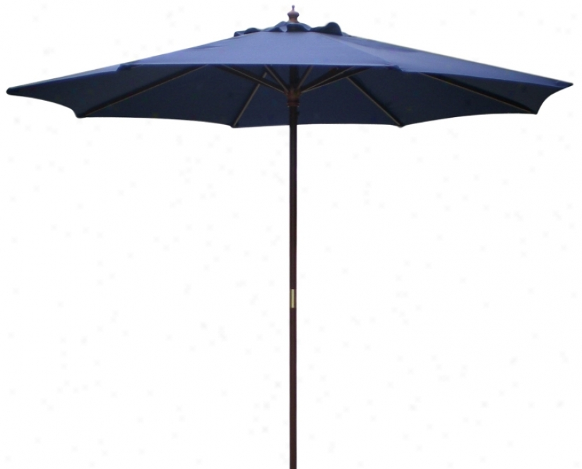 9' High Navy Blue Market Umbrella With Wooden Pole (t4719)