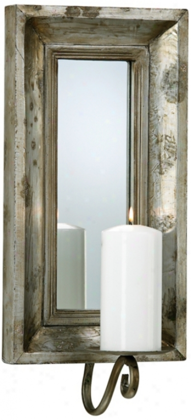 Ablle Etrusczn Slate Finish Mirror Candle Wall Sconce (v0895)