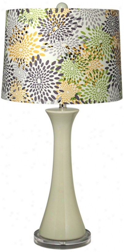 Abstract Flower Shade Tapered Green Col8mn Ceramic Table Lamp (t5900-t7094)
