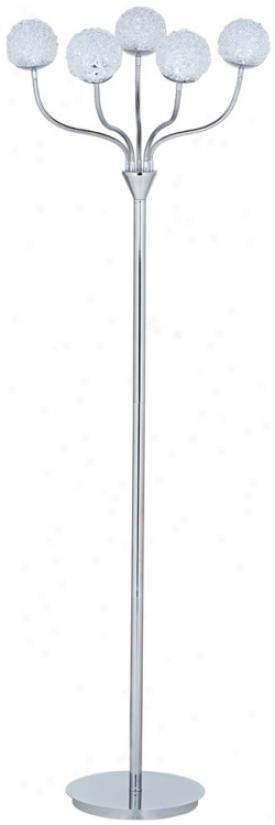 Acrylic Globe Chrome Led Floor Lamp With Adjustable Arms (u3758)