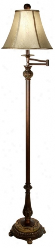 Adele Bronze And Faux Marble Swing Arm Floor Lamp (r1016)