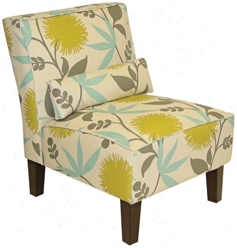 Aegean Dandelion Print Armless Chair (n6109)
