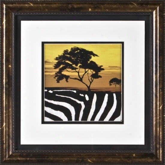 "African Tree Ii Print Under Glass 17"" Square Wall Art (h1922)"