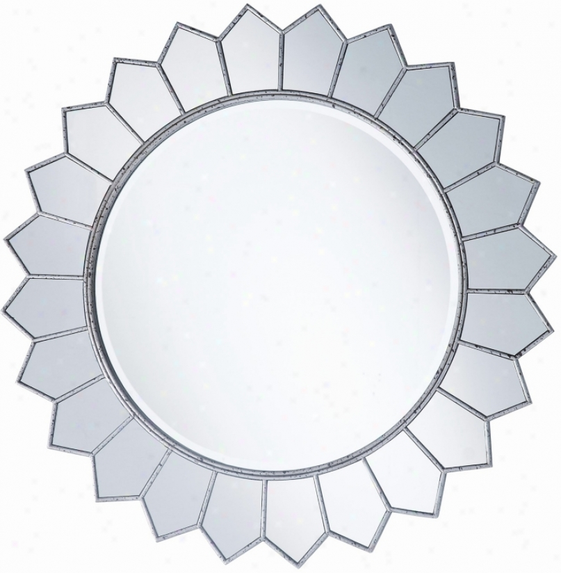 "Aged Silve Sunflower 36"" Round Wall Mirror (p7895)"
