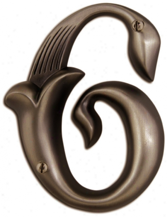 Alhambra Aged Bronze Finish House Number 6 (p2155
