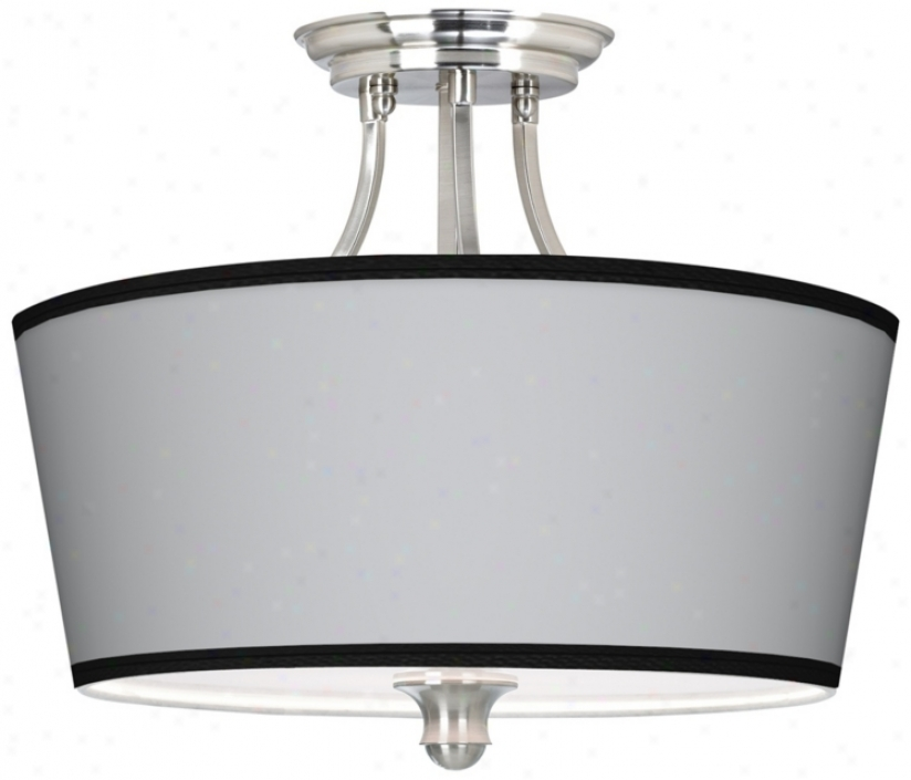 All Silv3r Giclee Suade 18&quot; Wide Ceiling Light (m1074-w4760)