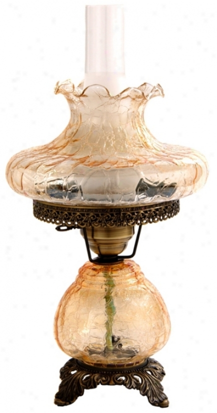 Amber Crackle Tamoshanta Night Light Hurricane Table Lamp (f7938)