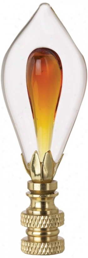 Amber Glass Teardrop Finia l(n5289)