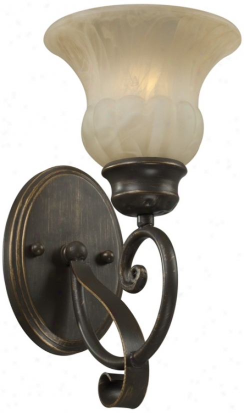 "Amber Marbleized Glass 12 1/4"" High Wall Sconce (t8975)"