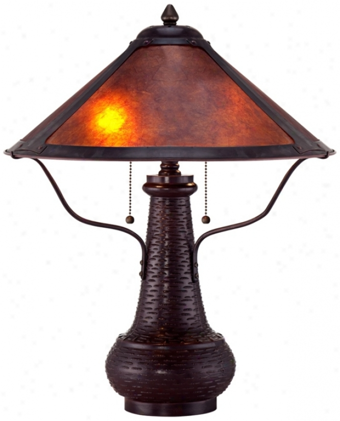 Amber Mica Shadow Mission Style Table Lamp (r3597)