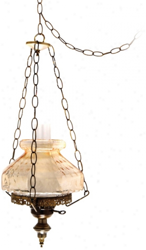 "Amber Rhombus Octagon 13"" Spacious Swag Plug-in Chandelier (j7130)"