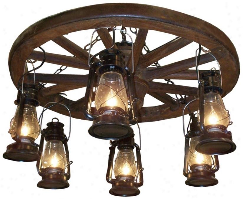 "Amberwood Blac Lanterns 36"" Wagon Wherl Chandelier (k9034)"