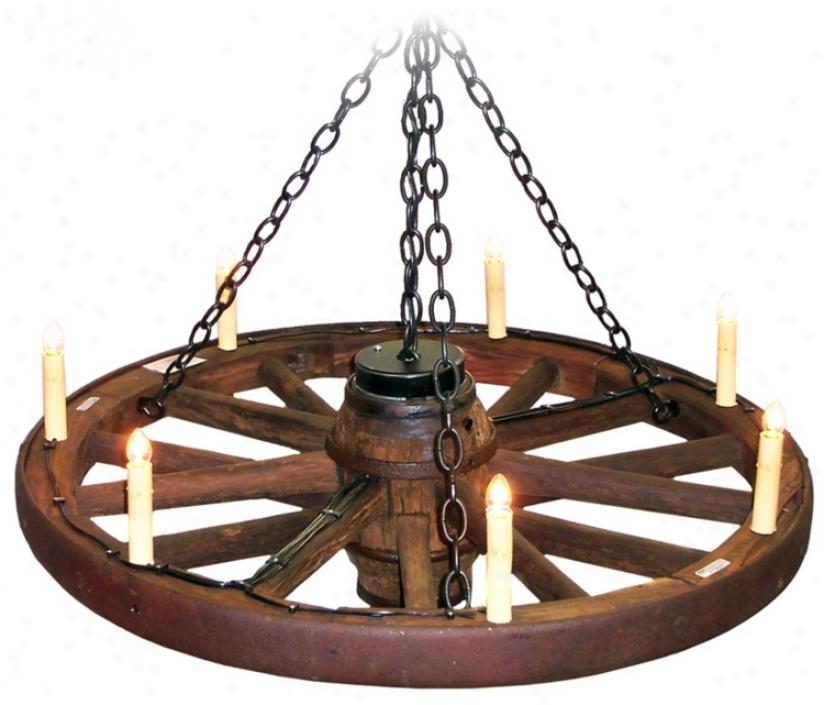"Amberwood Candelabra Style 48"" Wagon Wheel Chandelier (k9036)"