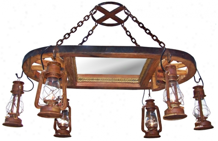 Amberwood Rust Lanterns Wagoj Wheel Island Chhandelier (k9045)