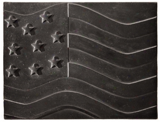 American Flag Fireplace Natural Cast Iron Fireback (u9719)