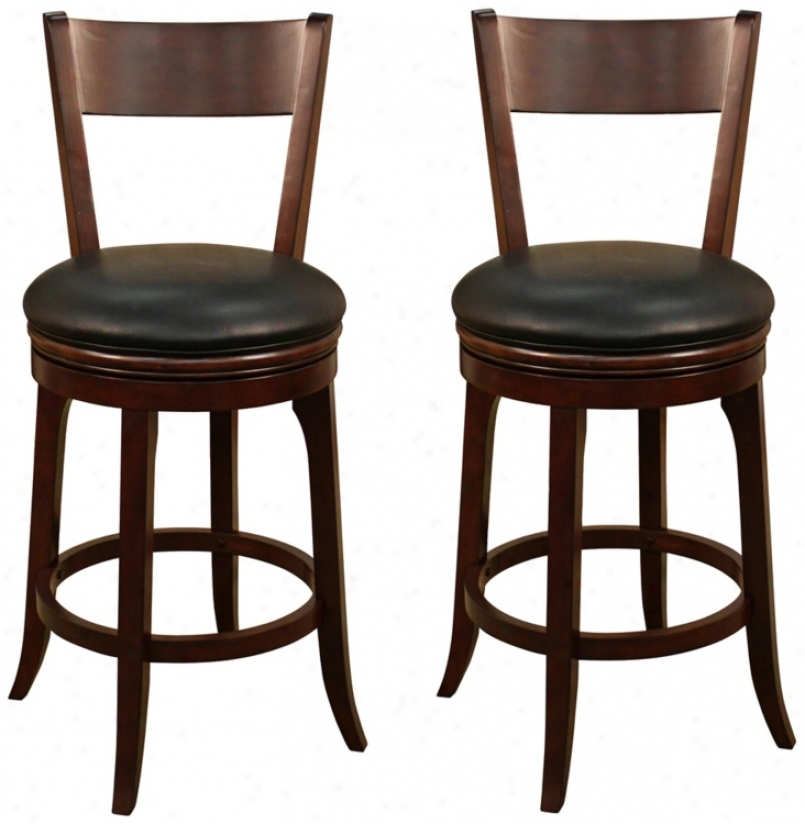 "American Heritage Aubu5n Set Of 2 Tudor 30"" High Bar Stools (u4597)"