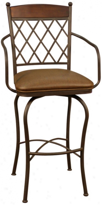 "American Heritage Havana Ginger Spice 34"" Swivel Bar Stool (u5126)"