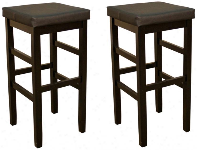 "American Heritage Set Of 2 Jensen 30"" Backless Bar Stools (u5132)"