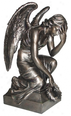 Angel With Wings Antique Bronze Sculpture (h5496)
