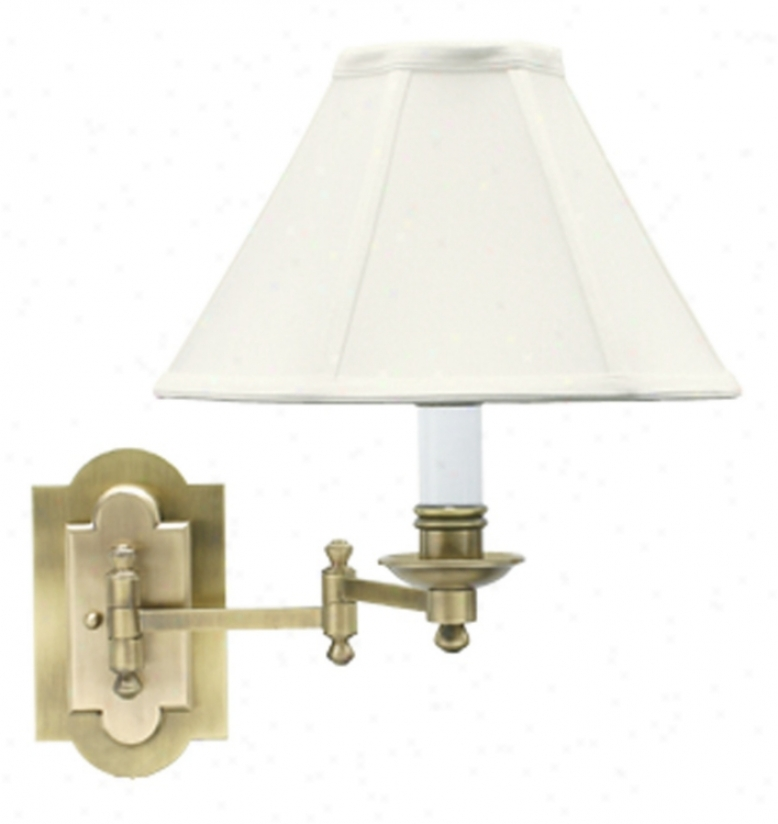 Antique Brass Arch Backplate Plug-in Swign Arm Wall Lamp (47296)