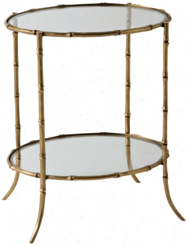 Antique Brass Bamboo Side Table (f7911)