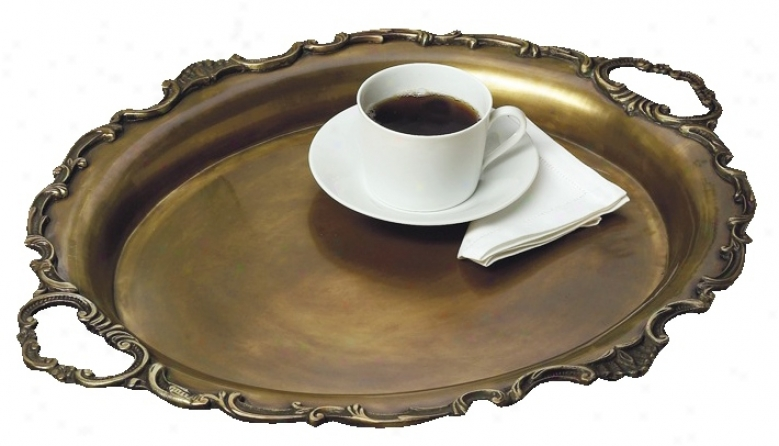 Antique Brasq Finish Serving Tray (g7315)