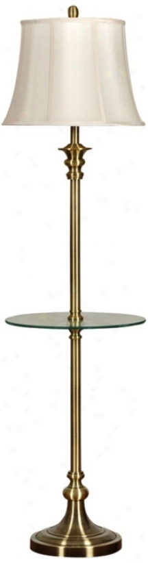 Antique Brass Galleey Waiter Table Floor Lamp (v2051)