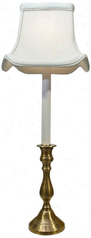 Antique Brass White Shade Tall Candlestick Table Lamp (p3277)